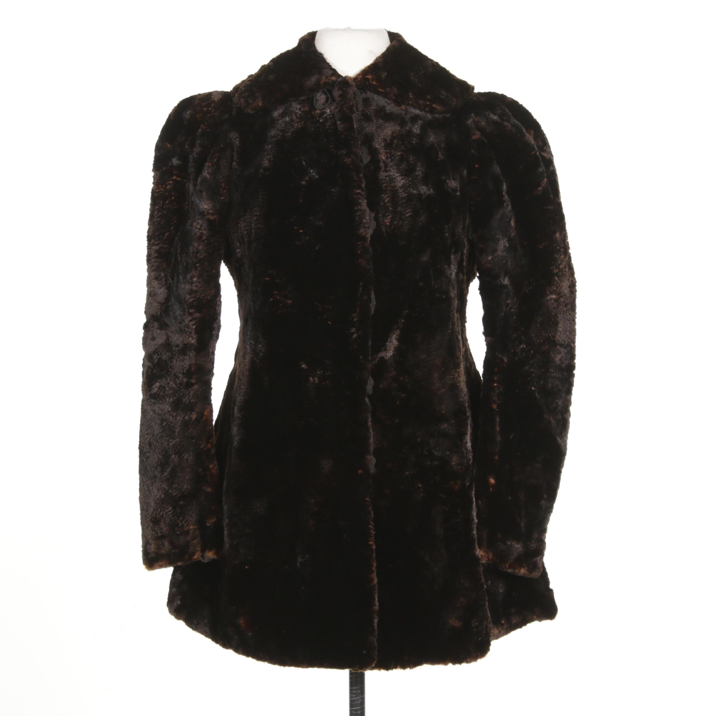 Sheared Beaver Fur Coat Mid Calf 1930s