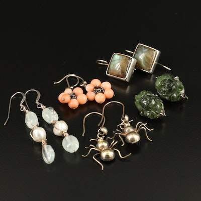Selection of Earrings Featuring Carved Stone, Coral Cluster and Ant Motif
