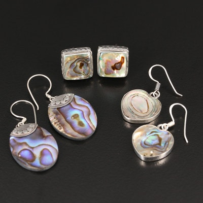 Assortment of Sterling Silver Abalone Earrings