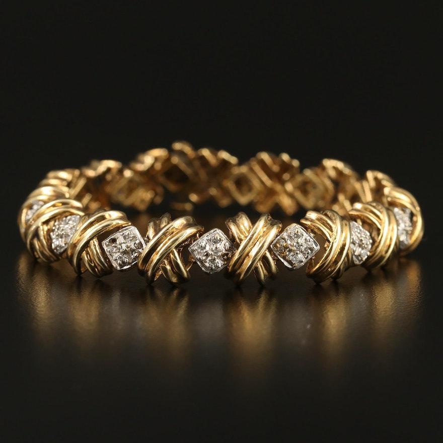 10K 1.00 CTW Diamond XOXO Cluster Bracelet