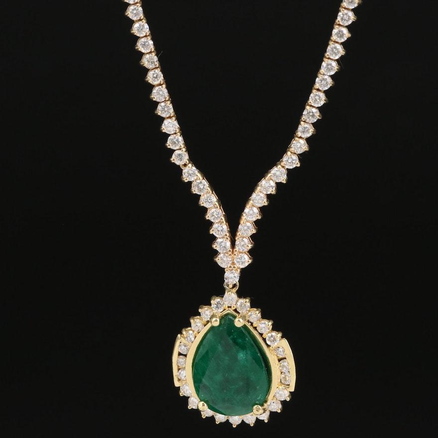 18K 4.11 CT Emerald Pendant on 14K 3.50 CTW Diamond Line Necklace