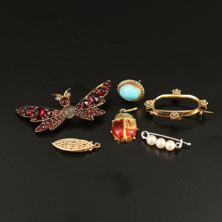 Scrap 14K Assortment, 18K Ladybug and Bat  Jewelry with Gemstone Accents