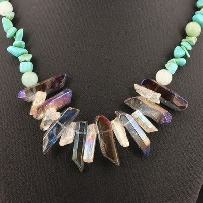 Beaded Necklace Featuring Quartz, Magnesite and Glass