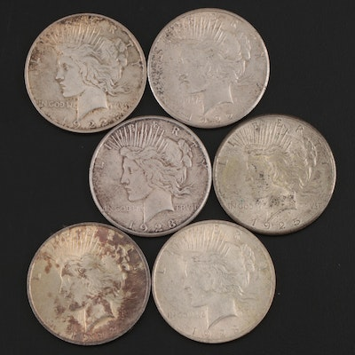 Six Peace Silver Dollars