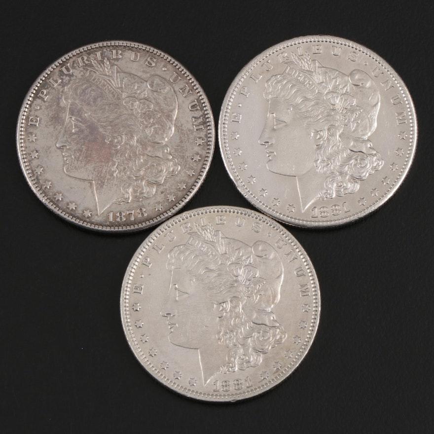 1878-S, 1880-O and 1880-S Morgan Silver Dollars