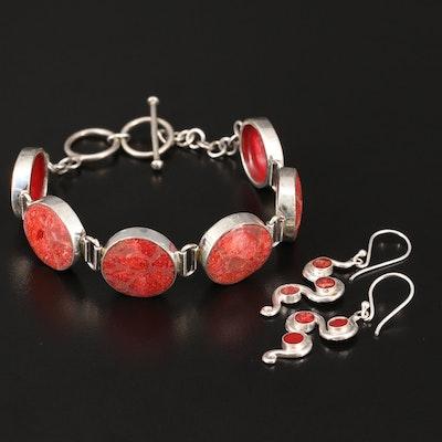 Sterling Coral Circular Bracelet and Swiggle Earrings