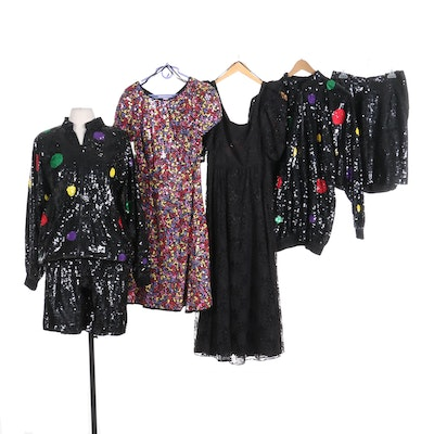 Lillie Rubin Sequined Silk Skirt Suits, Morton Myles and Other Evening Wear