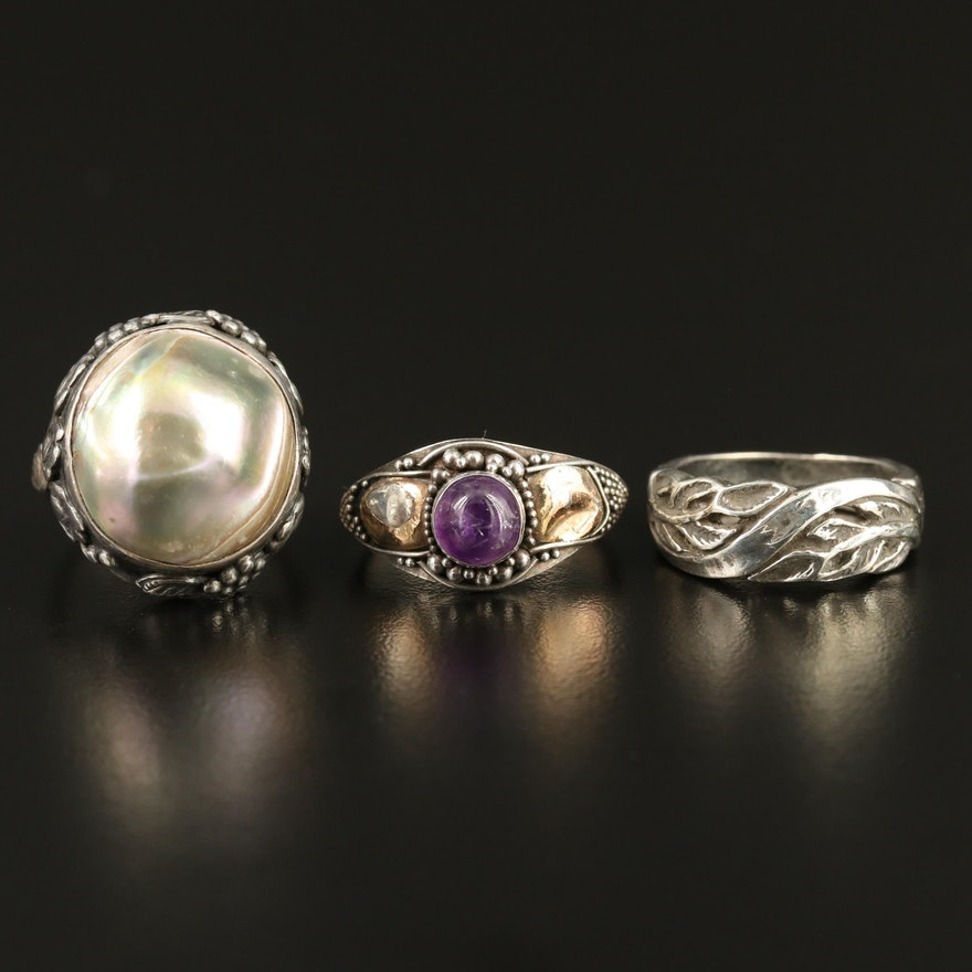 Selection of Sterling Silver Rings with Pearl and Amethyst