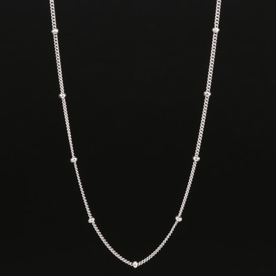 Sterling Silver Station Chain Necklace