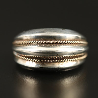 Sterling Silver Tapered Band with Ridges and 14K Accents