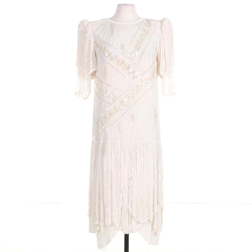Judith Ann Creations Bead and Sequin Embellished Silk Drop-Waist Dress