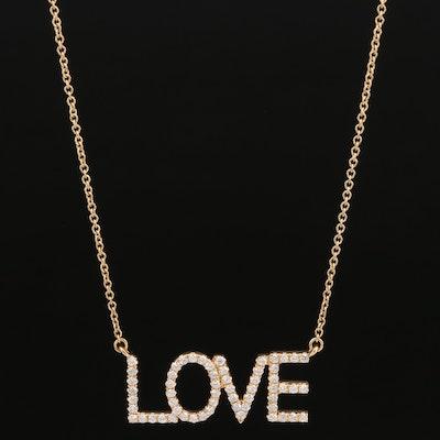 """18K Diamond """"Love"""" Pendant Necklace"""
