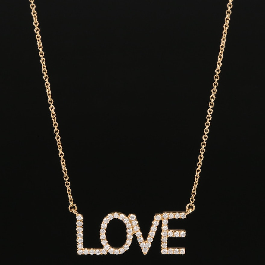 "18K Diamond ""Love"" Pendant Necklace"