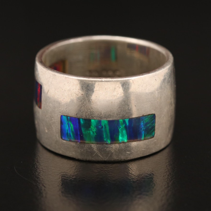 Sterling Silver Inlaid Opal Cigar Band