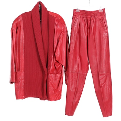 Nancy Heller Red Leather Pants and Oversized Jacket with Knit Tuxedo Collar