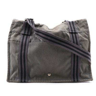 Hermès Fourre Tout Besace Messenger Bag in Gray Cotton Canvas
