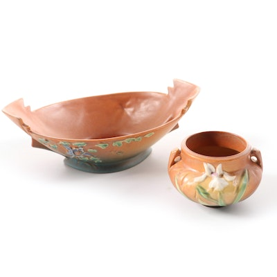 Roseville Pottery Columbine Console Bowl with Roseville Iris Urn