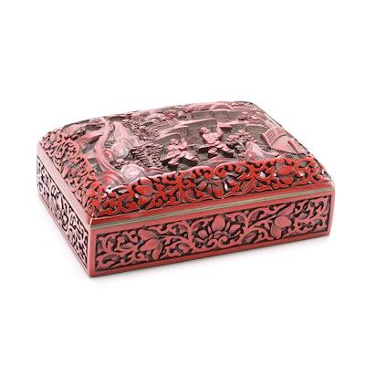 Carved Cinnabar Enameled Box, Mid-20th Century