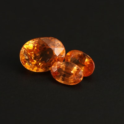 Loose 3.65 CTW Oval Faceted Spessartines