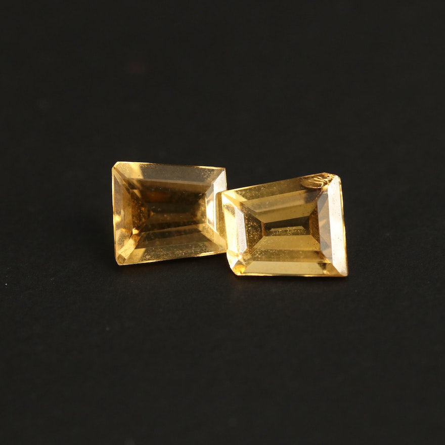 Matching Pair of Loose 1.58 CTW Trapeze Faceted Citrines