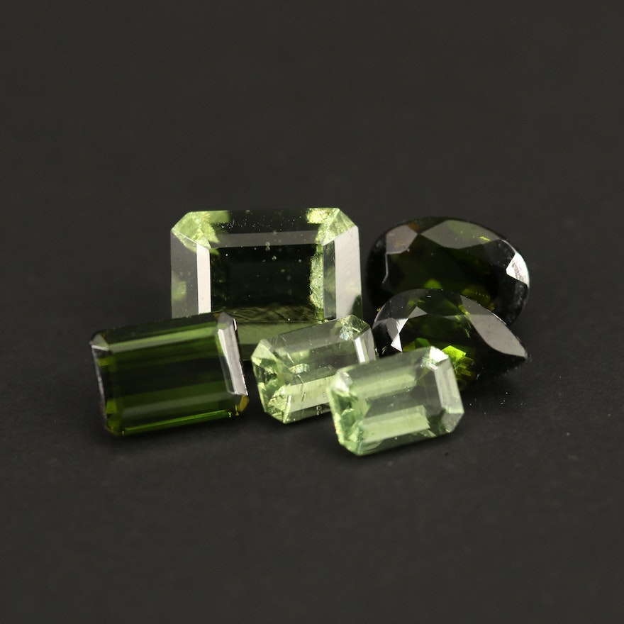 Loose 6.22 CTW Gemstone Selection Featuring Tourmaline and Moldavite