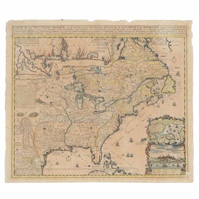 """Henri Chatelain Hand-Colored Engraving Map """"Carte De La Nouvelle France"""""""