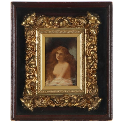 Oil Painting of Female Nude after Angelo Asti, Late 19th Century