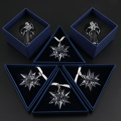 Limited Edition Swarovski Crystal Angel and Snowflake Annual Ornaments