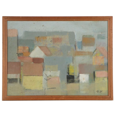 Modernist Style Oil Painting of Abstract Cityscape