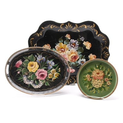 Hand-Painted Floral Toleware Trays, Mid-20th Century