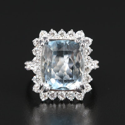 14K 10.50 CT Aquamarine and 1.50 CTW Diamond Halo Ring