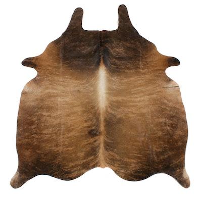 5'0 x 6'1 Natural Brown Brindle Cowhide Area Rug