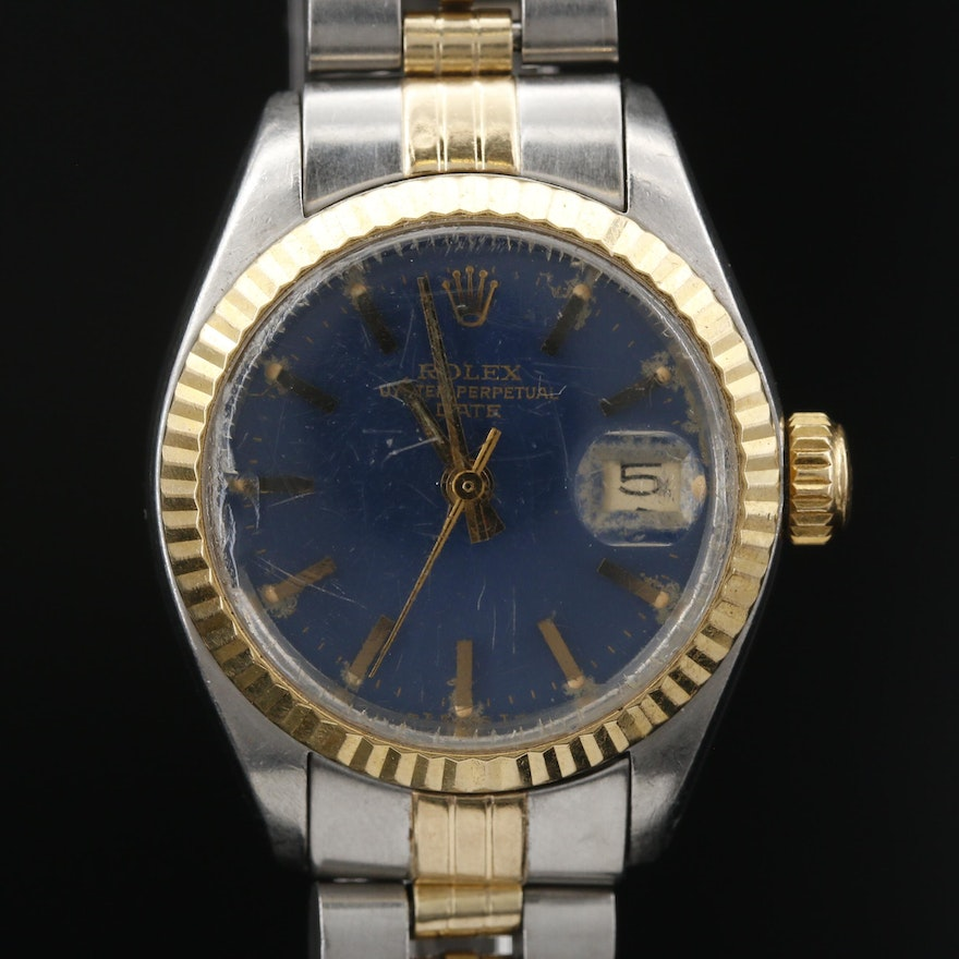 1978 Rolex Datejust Model 6917 Stainless Steel and 14K Gold Automatic Wristwatch