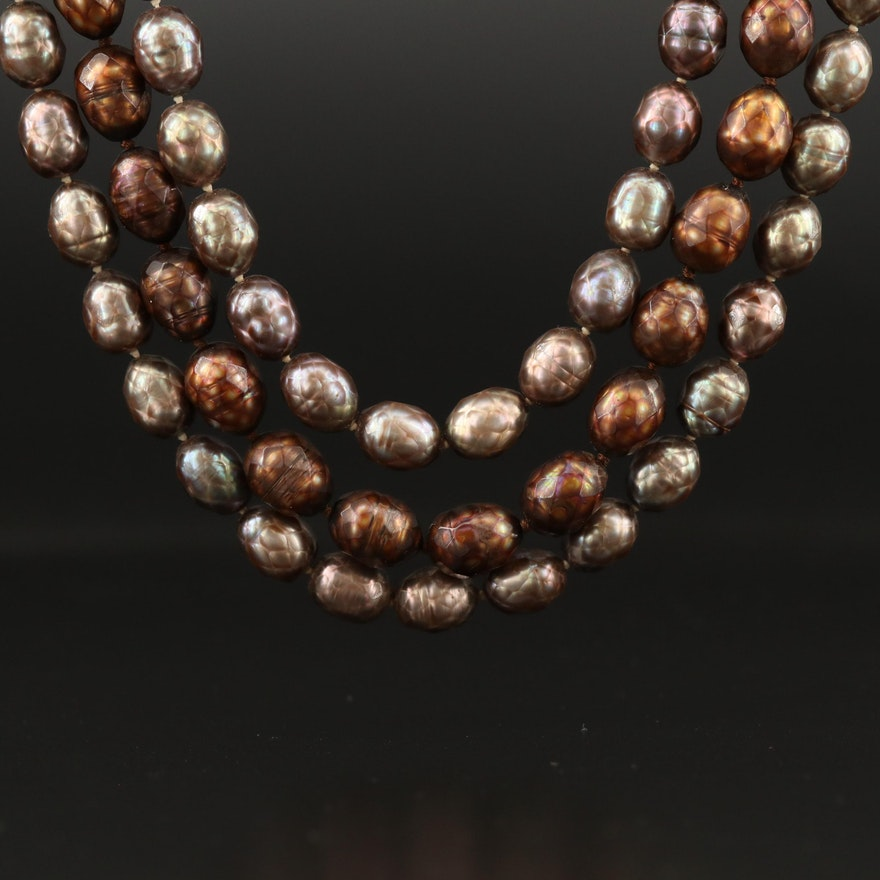 Triple Strand Pearl Necklace with 14K Clasp