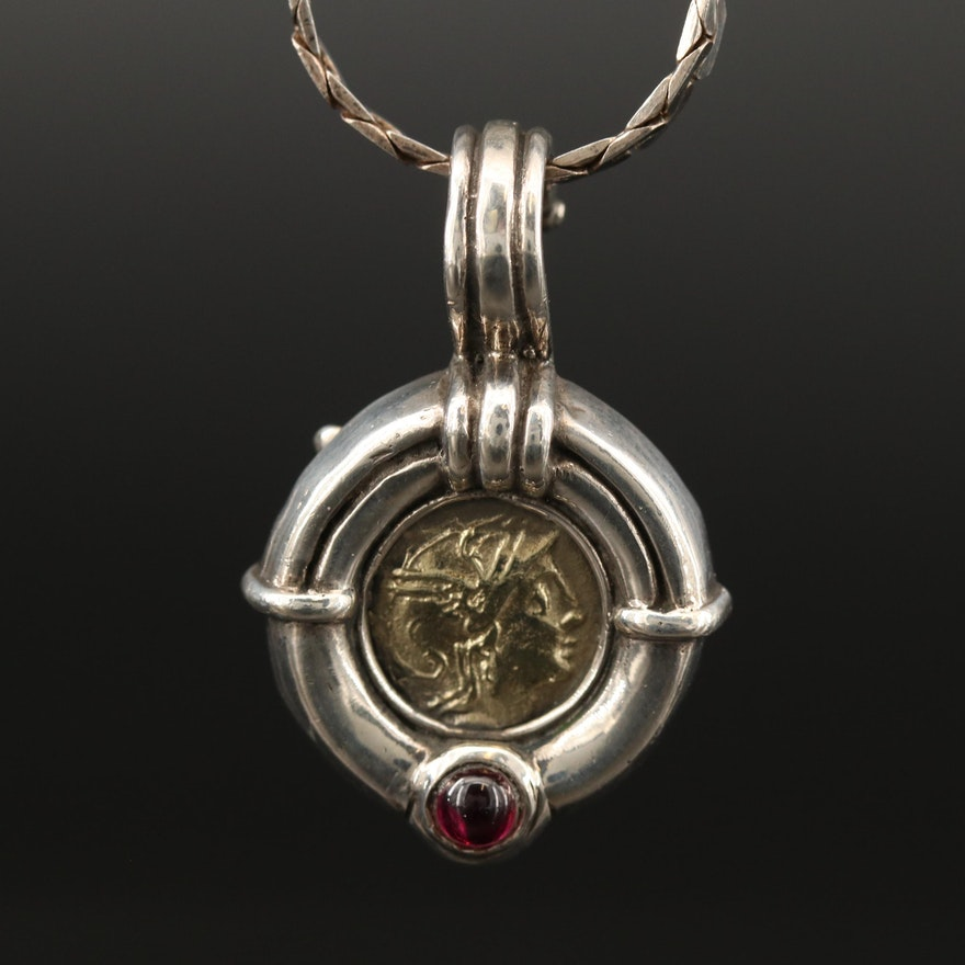 Sterling Silver Garnet Enhancer Pendant Necklace Featuring C-Link Chain