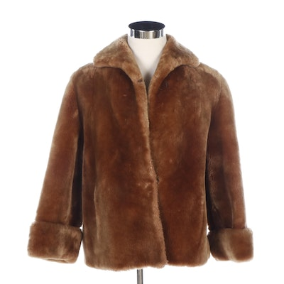 Mouton Fur Jacket with Turned Back Cuffs
