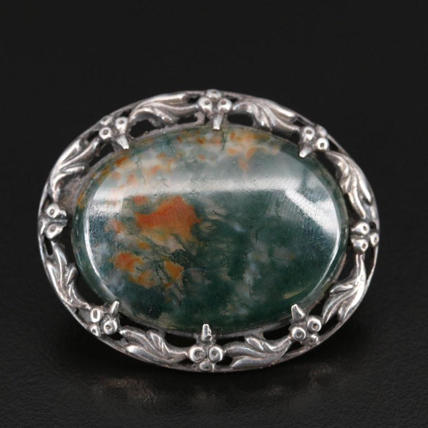 Sterling Silver Moss Agate Brooch