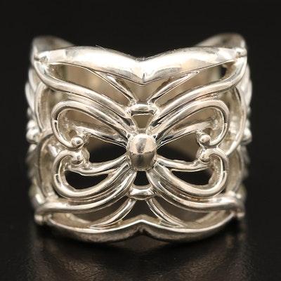 Sterling Silver Filigree Ribbon Ring