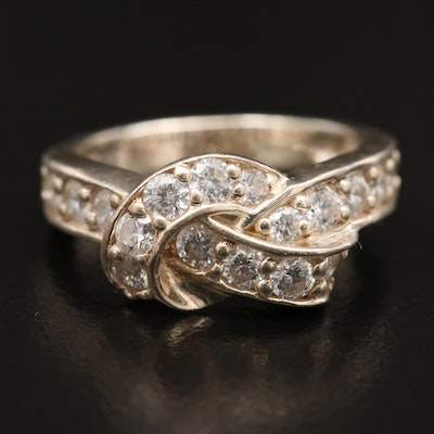 Sterling Silver Cubic Zirconia Knotted Ring