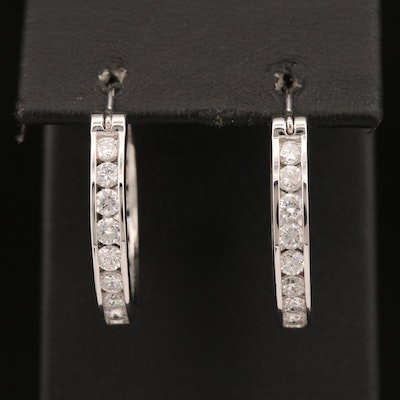 Sterling Channel Set Cubic Zirconia Inside-Out Hoop Earrings