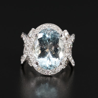 14K 9.67 CT Aquamarine and 2.00 CTW Diamond Ring