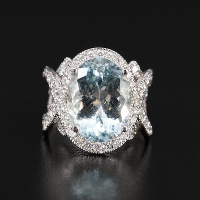 14K 9.67 CT Aquamarine and 2.00 CTW Diamond Ring