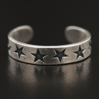 Sterling Silver Star Accented Adjustable Toe Ring