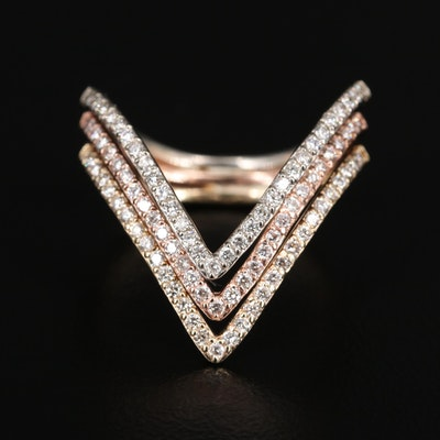 Tri Color 14K Diamond Chevron Ring