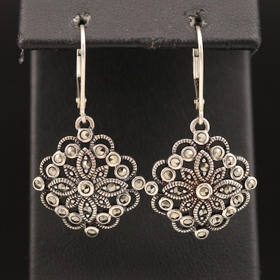 Sterling Silver Marcasite Openwork Dangle Earrings