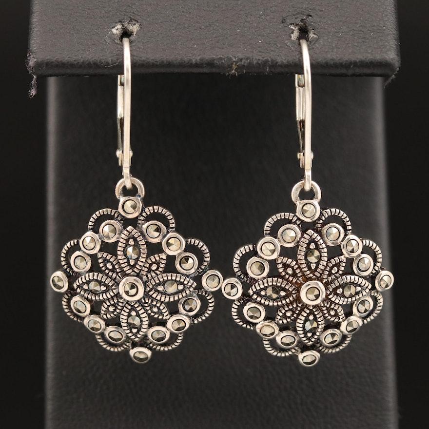 Sterling Silver Marcasite Openwork Dangle Earrings