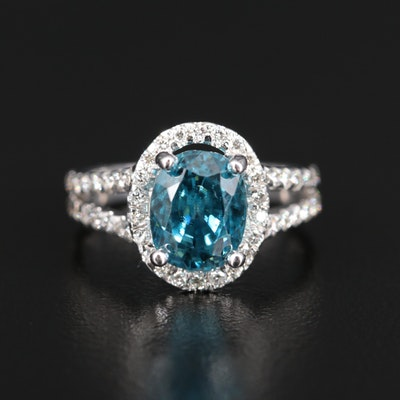 14K 5.16 CT Zircon and Diamond Ring with Split Shoulders