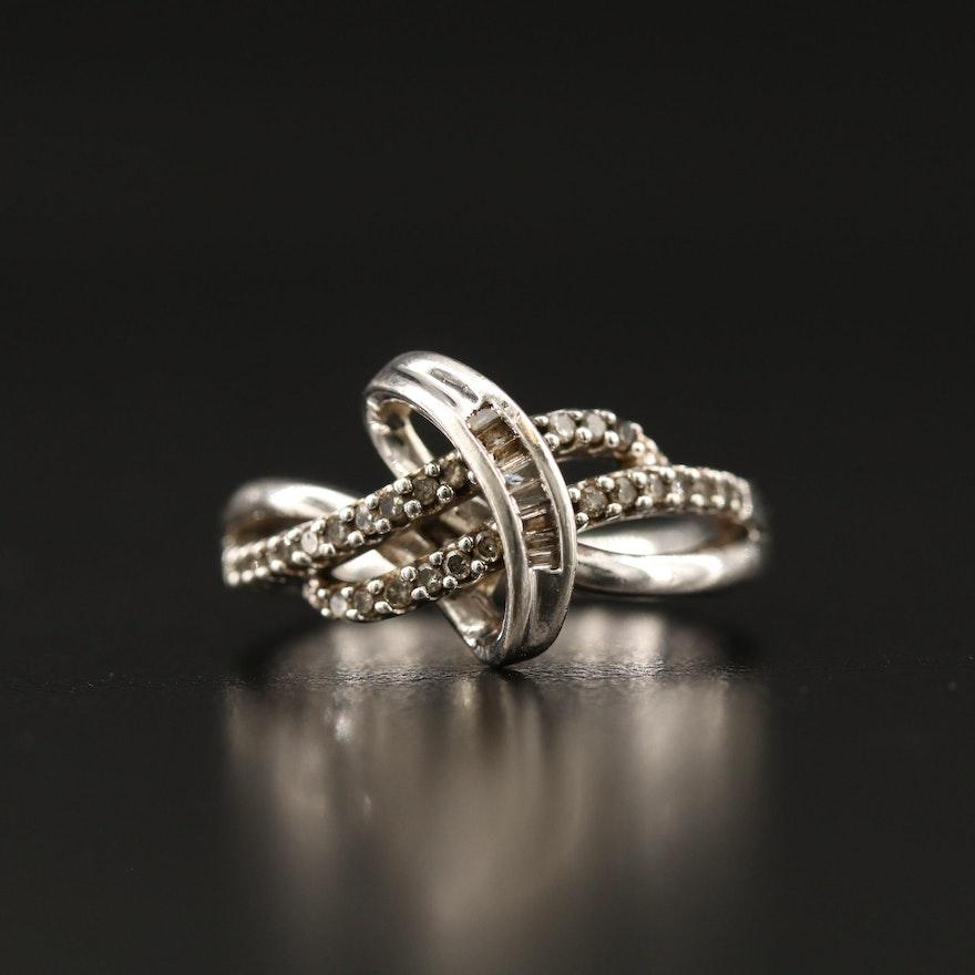 Sterling Silver Diamond Ribbon Motif Ring