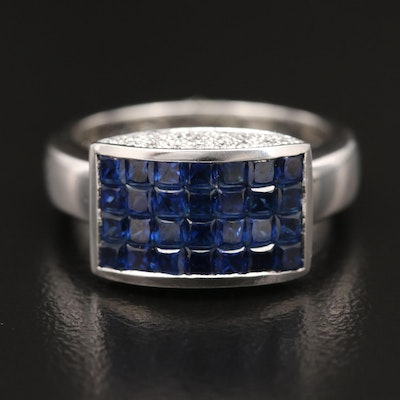 14K Sapphire and Diamond Ring with Navette Design