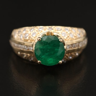 18K 1.85 CT Emerald and Diamond Ring